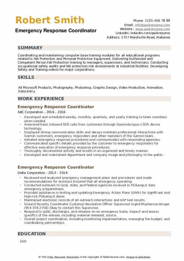 Emergency Response Coordinator Resume example