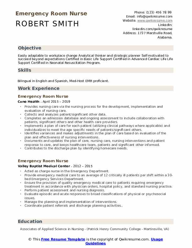 Emergency Room Nurse Resume Samples | QwikResume