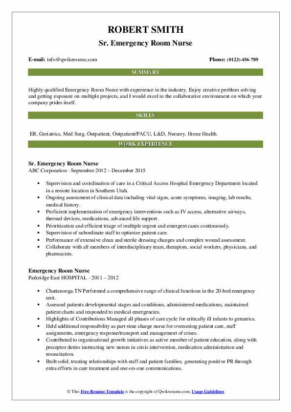 Sr. Emergency Room Nurse Resume Sample