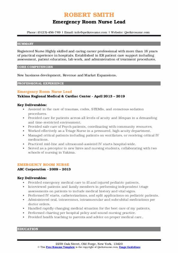 Emergency Room Nurse Lead Resume Template