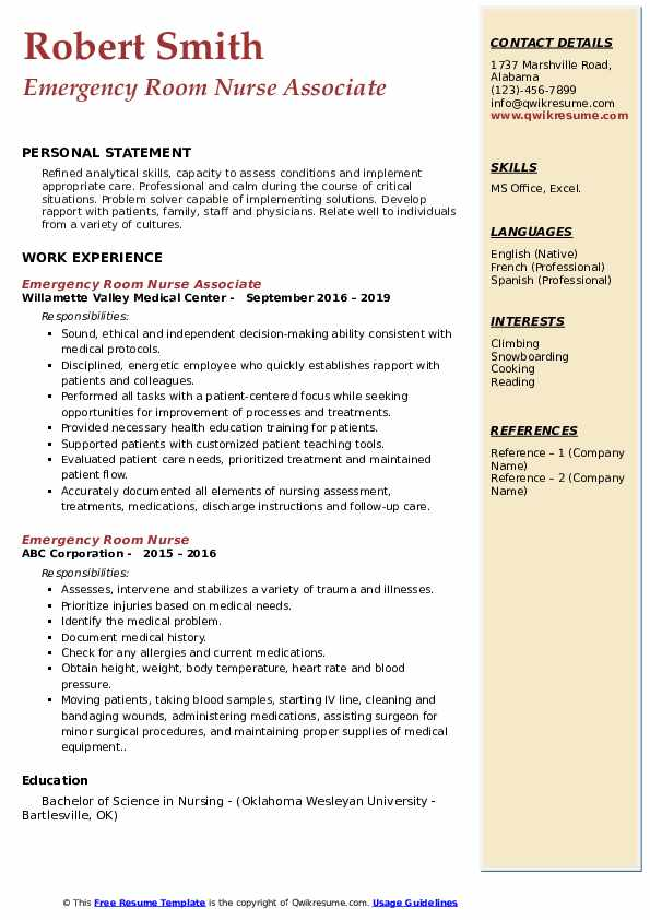 Emergency Room Nurse Associate Resume Format