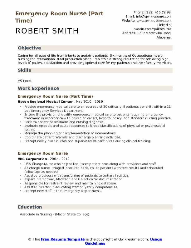 Emergency Room Nurse (Part Time) Resume Format