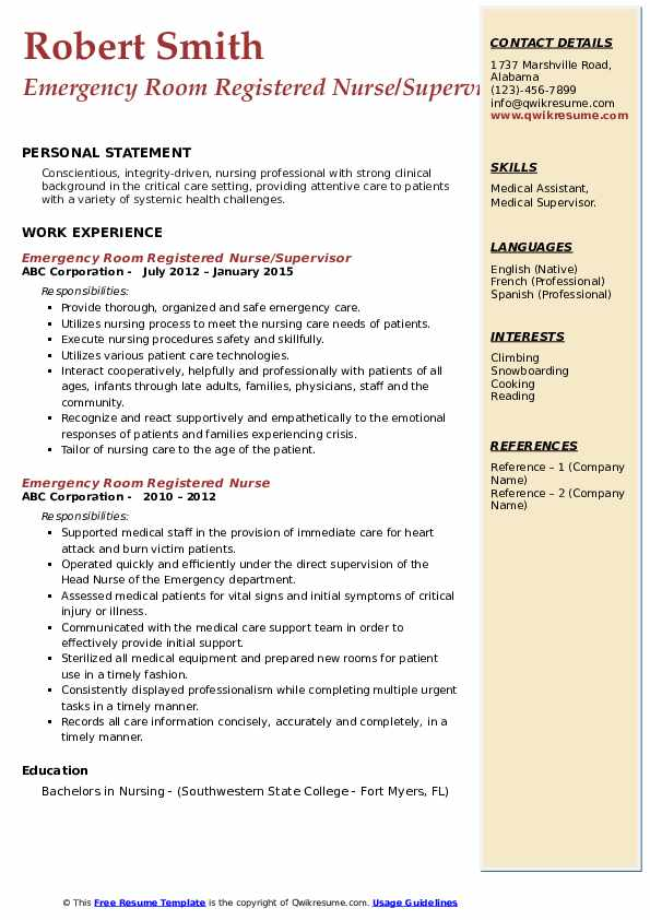 emergency room registered nurse resume samples