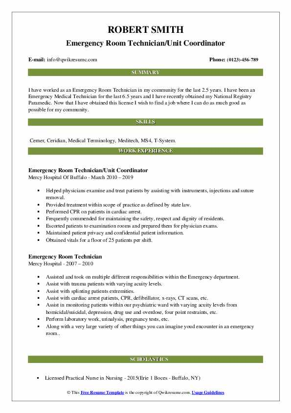 Emergency Room Technician Resume Samples Qwikresume