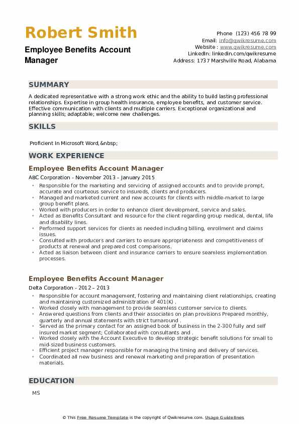 Employee Benefits Account Manager Resume example