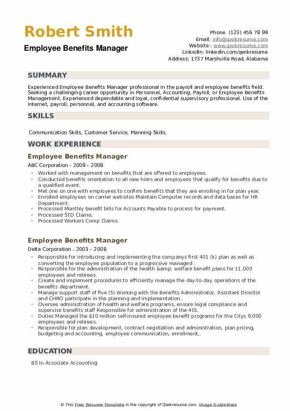 Employee Benefits Manager Resume example