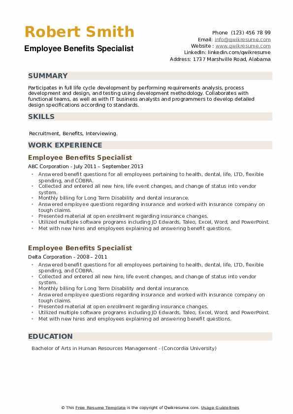Employee Benefits Specialist Resume example