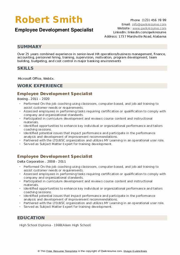 Employee Development Specialist Resume example