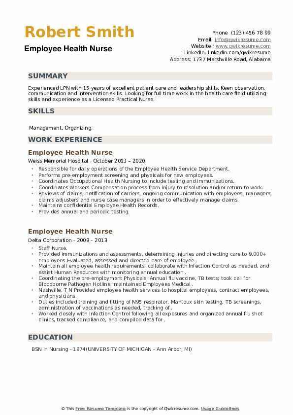Employee Health Nurse Resume example