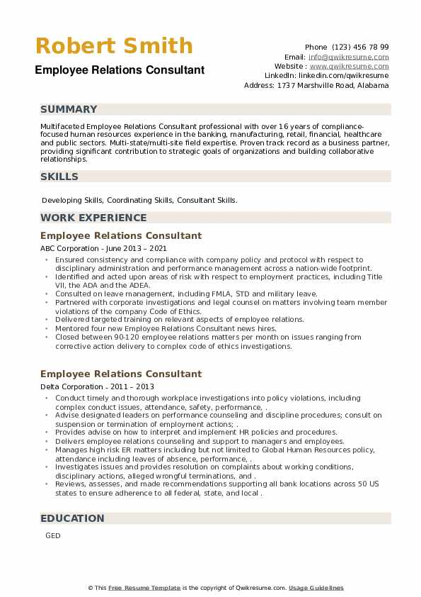 Employee Relations Consultant Resume example