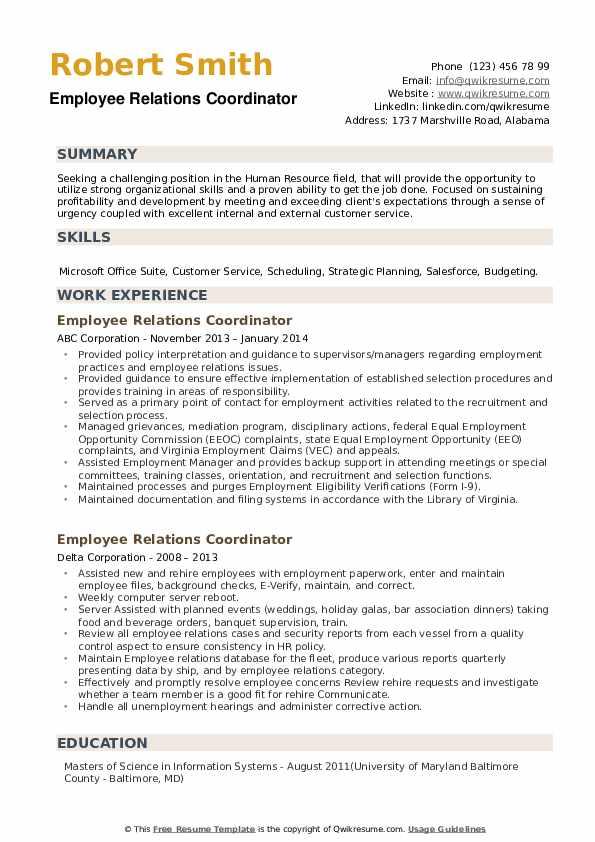 Employee Relations Coordinator Resume example