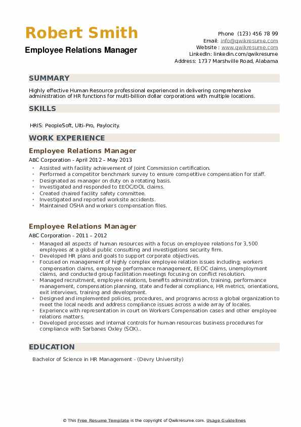 Employee Relations Manager Resume example
