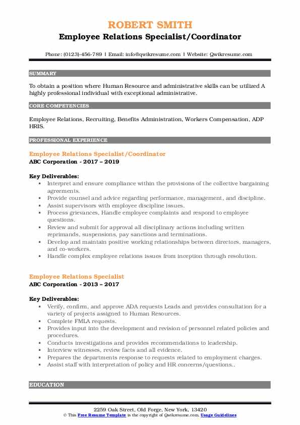 employee relations specialist resume samples
