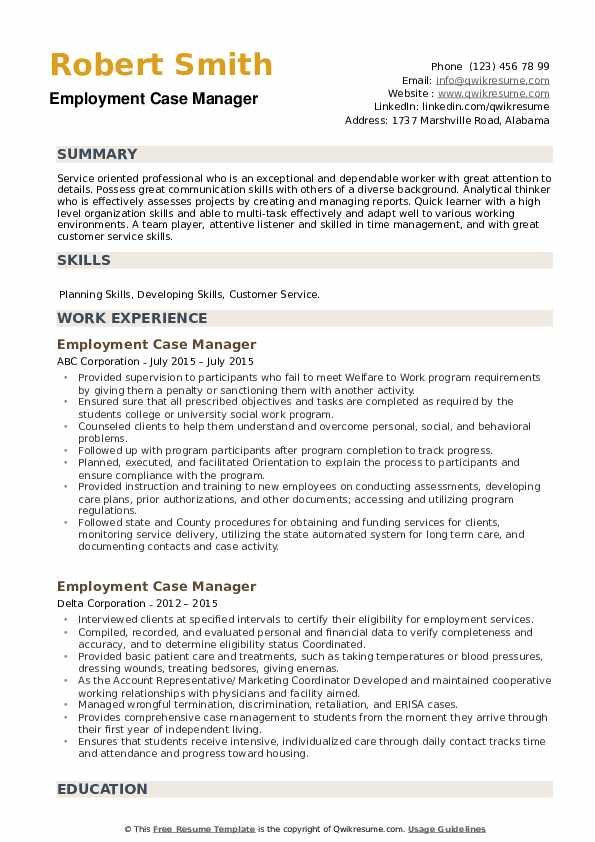 Employment Case Manager Resume example