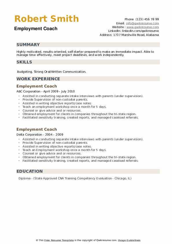 Employment Coach Resume example