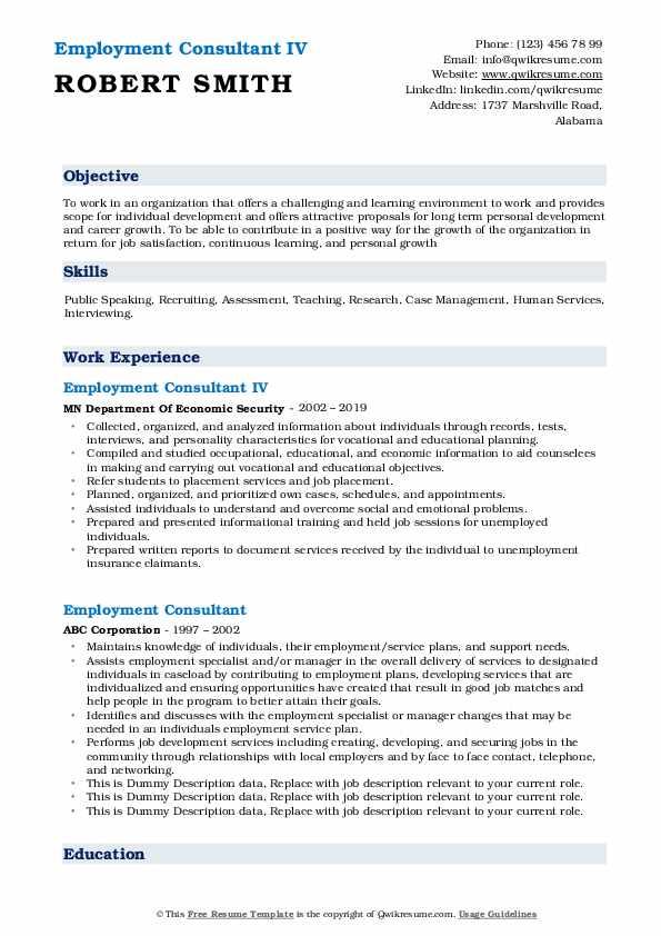 employment consultant resume samples  qwikresume