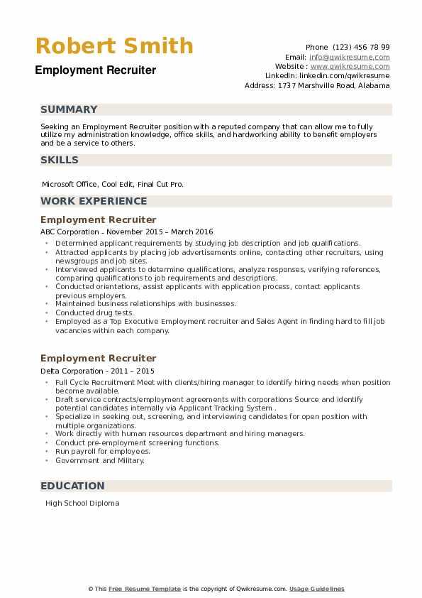 Employment Recruiter Resume example