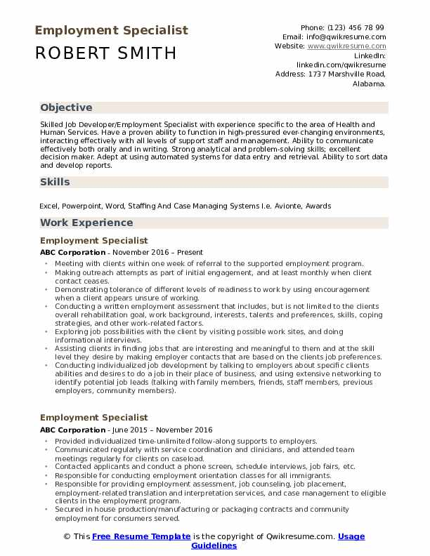Employment Specialist Resume Samples Qwikresume