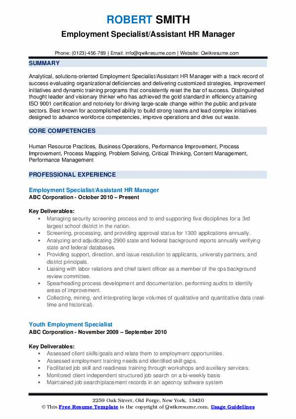 Employment Specialist/Assistant HR Manager Resume Model