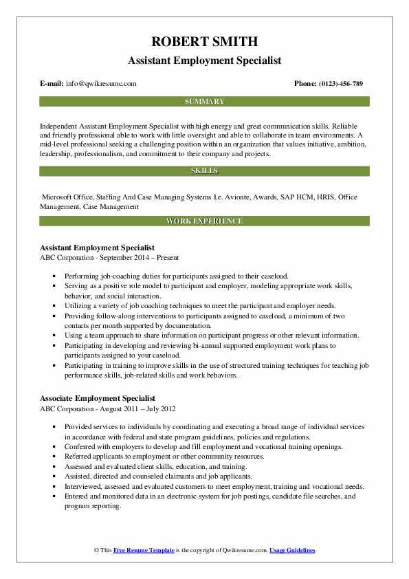 Assistant Employment Specialist Resume Sample