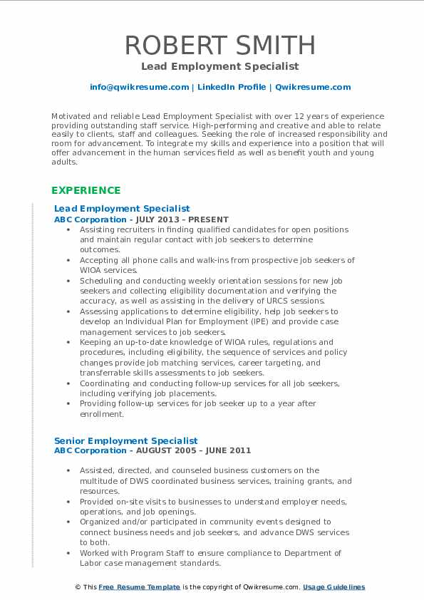 Lead Employment Specialist Resume Sample