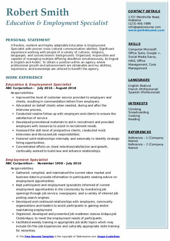 Education & Employment Specialist Resume Format