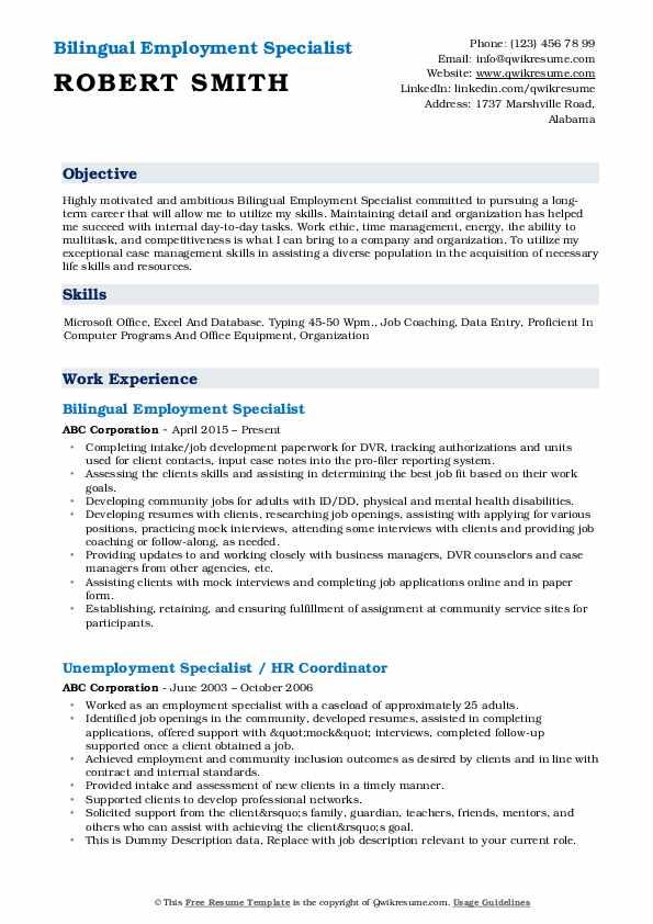 Bilingual Employment Specialist Resume Sample