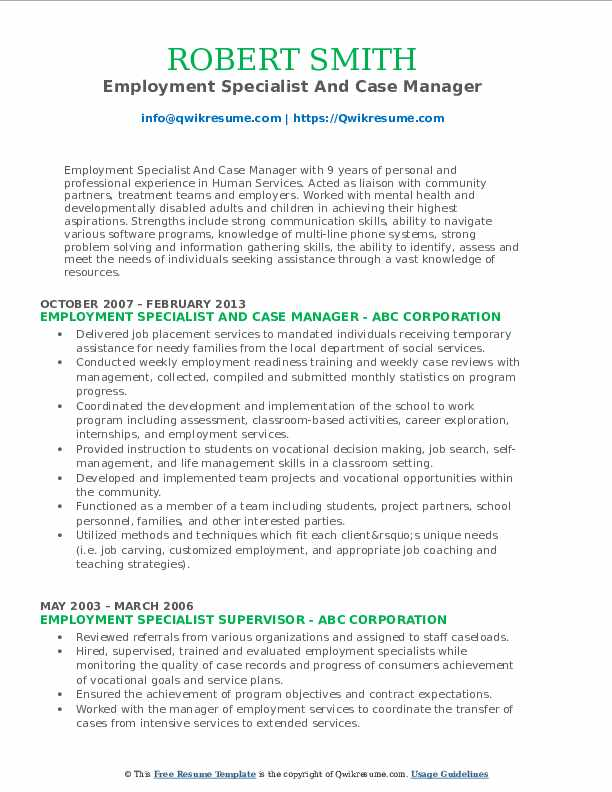 Employment Specialist And Case Manager Resume Sample