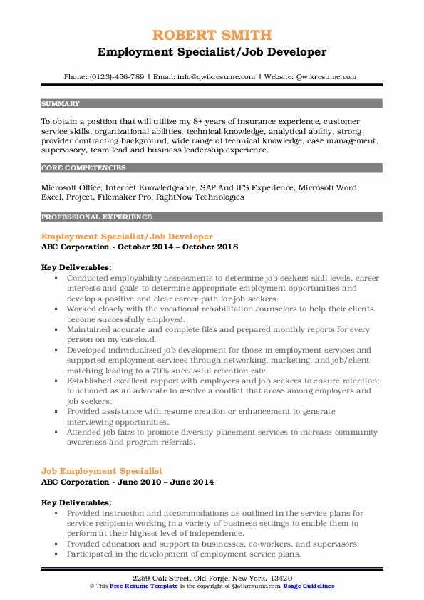 Employment Specialist/Job Developer Resume Sample