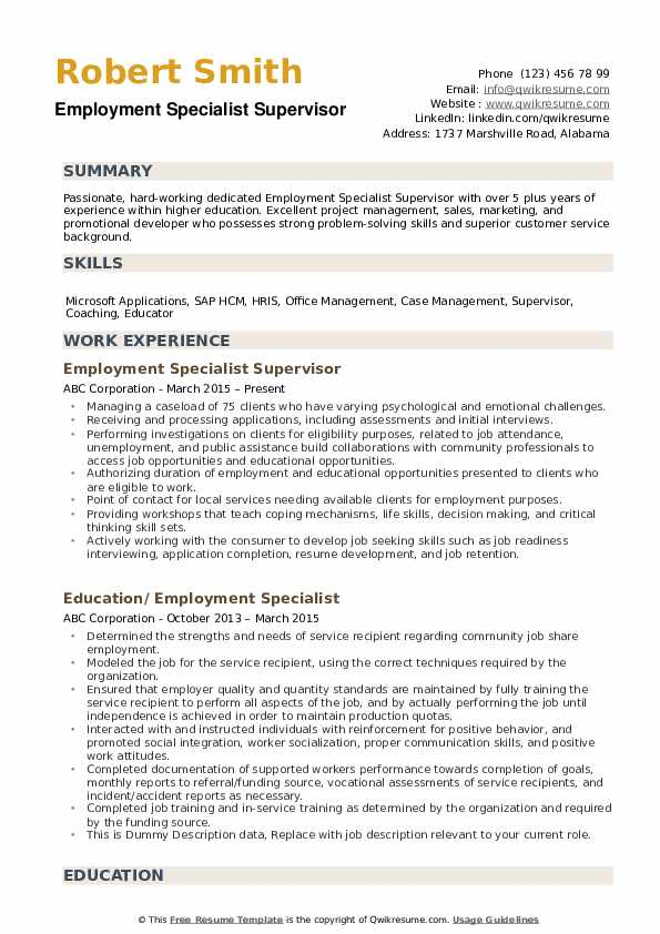 Employment Specialist Resume example