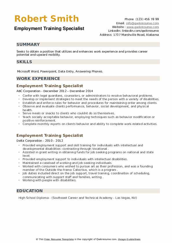 Employment Training Specialist Resume example