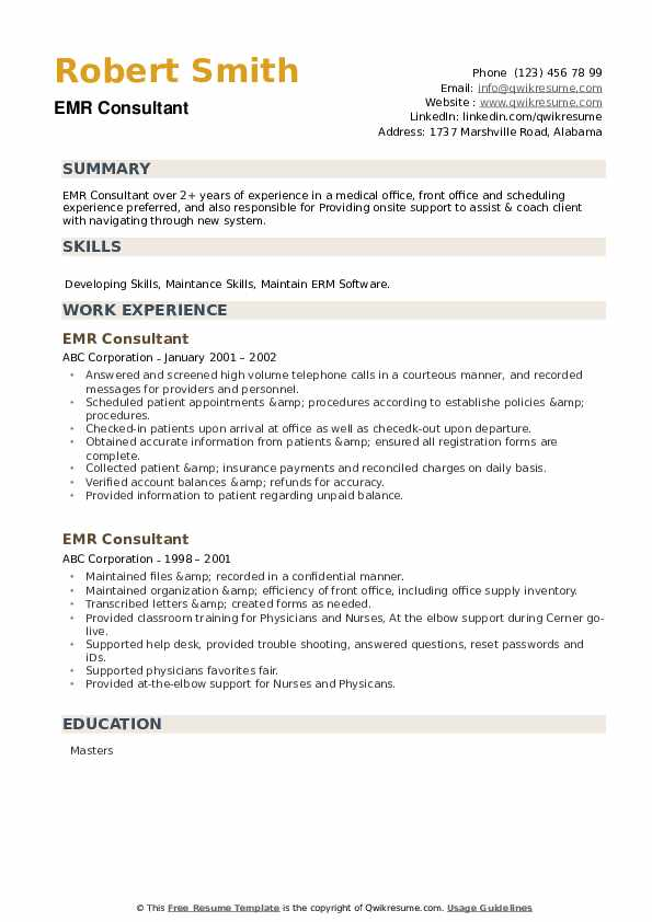 EMR Consultant Resume Samples | QwikResume