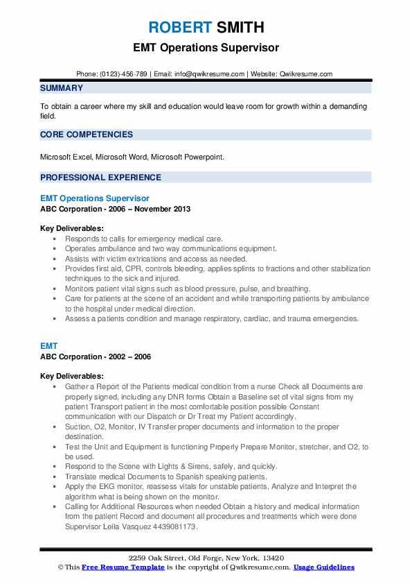 EMT Operations Supervisor Resume Model