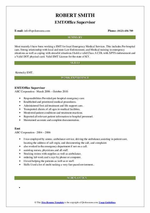 EMT/Office Supervisor Resume Model