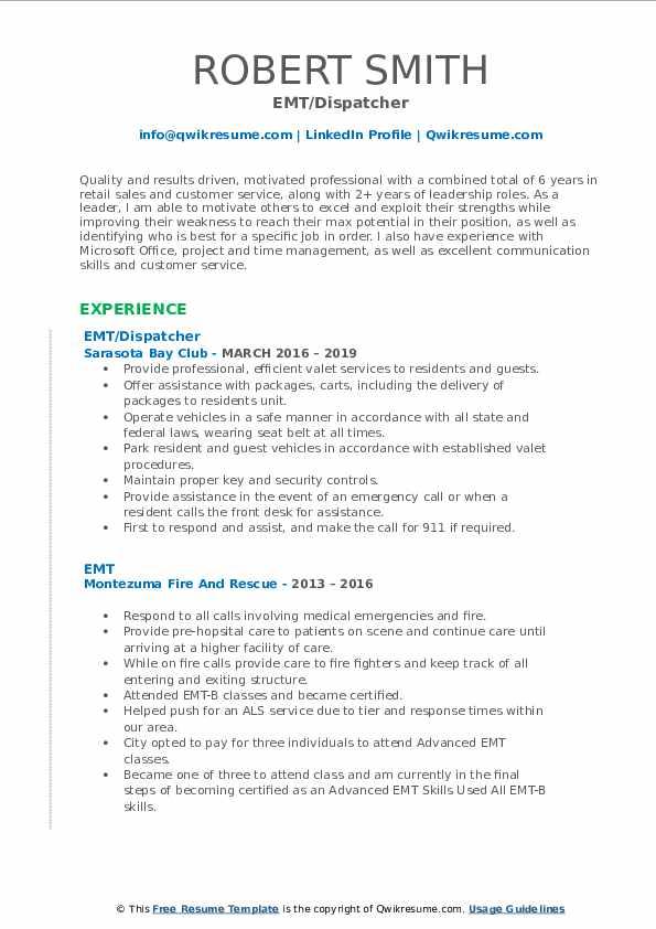 Emt Dispatcher Resume June 2020