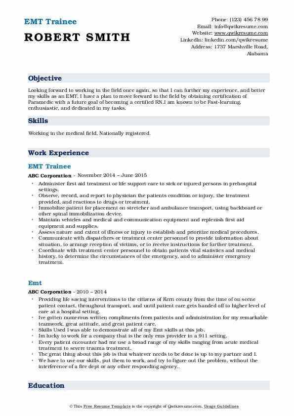 emt resume samples  qwikresume