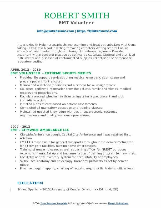 EMT Volunteer  Resume Example