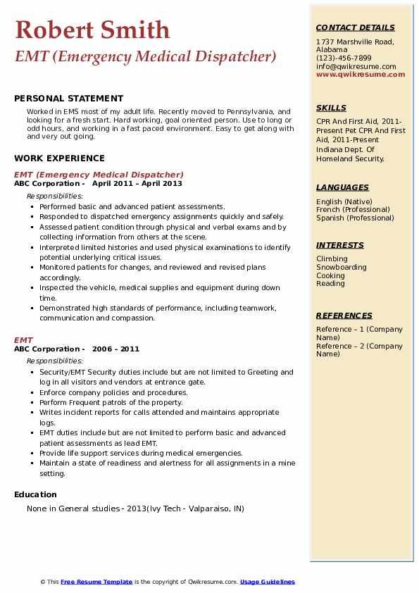 EMT (Emergency Medical Dispatcher) Resume Model