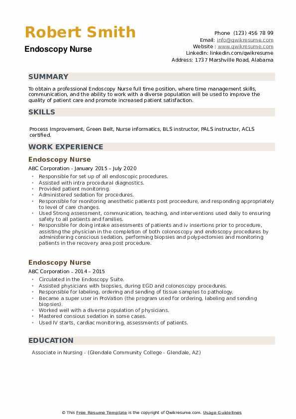 Endoscopy Nurse Resume example