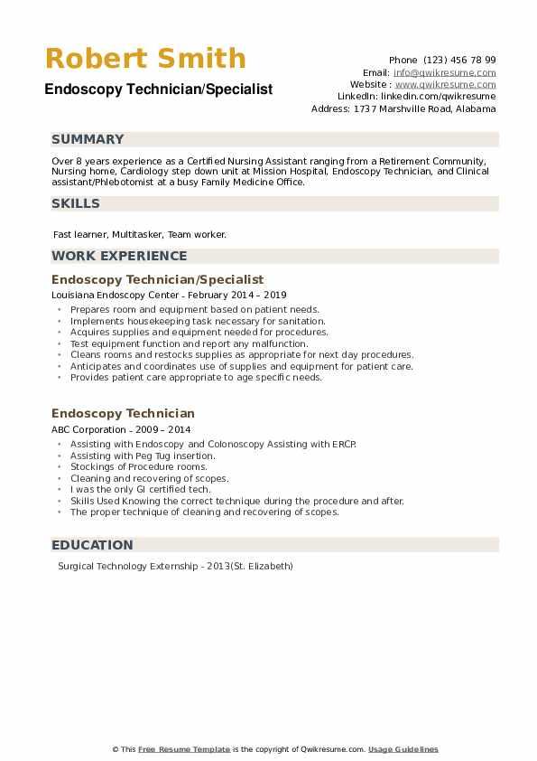 Endoscopy Cleaning Room: Endoscopy Technician Resume Samples
