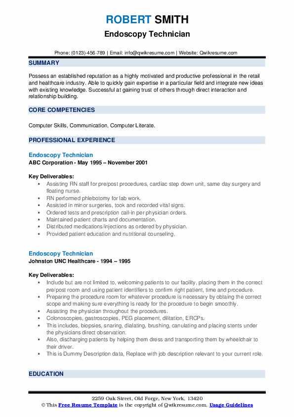 Endoscopy Technician Resume example