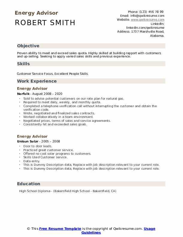 Energy Advisor Resume example