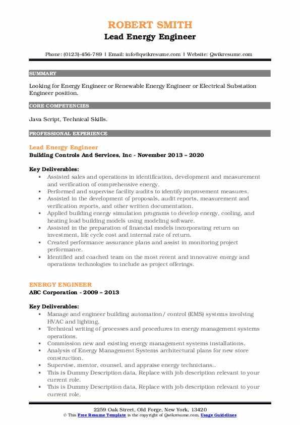 energy engineer resume samples  qwikresume