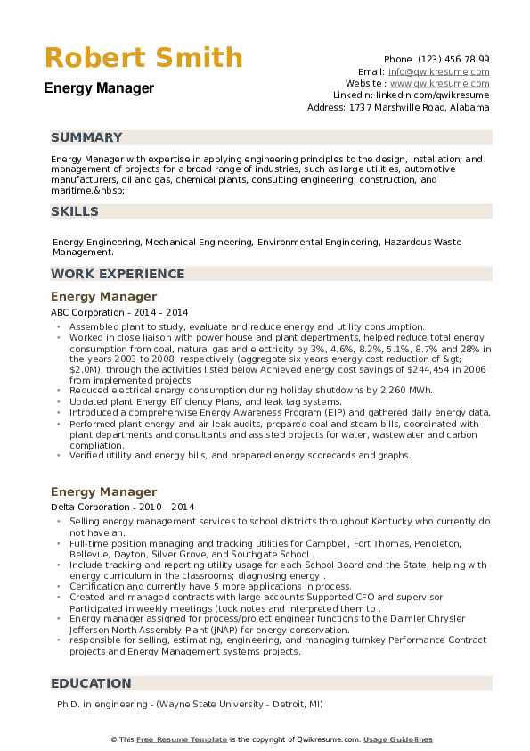 Energy Manager Resume example