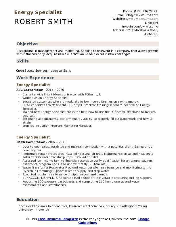energy specialist resume samples  qwikresume