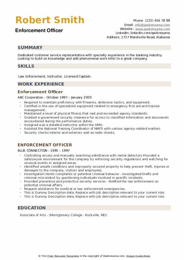 Enforcement Officer Resume example