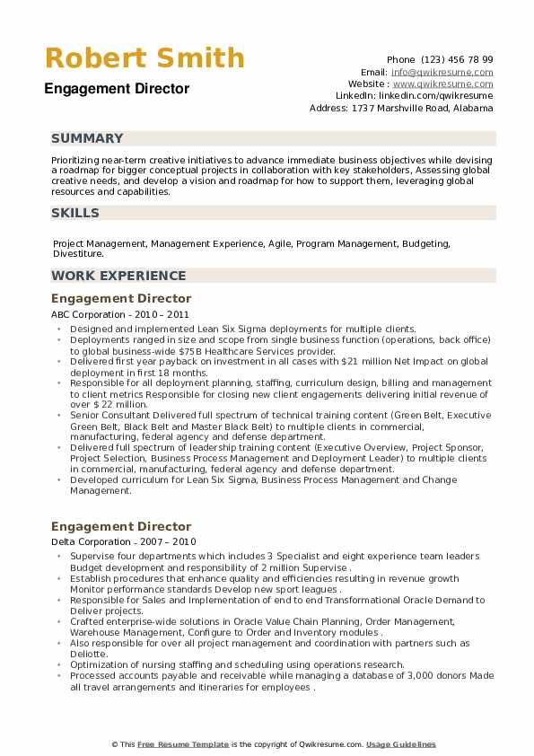 Engagement Director Resume example