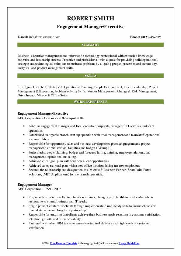 Engagement Manager/Executive Resume Format