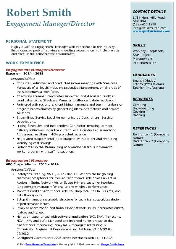 Engagement Manager/Director Resume Example