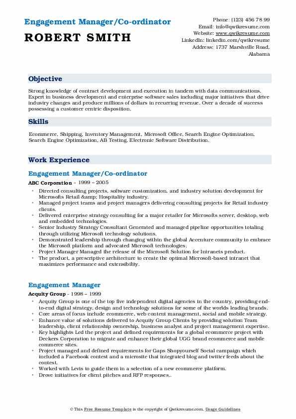 Engagement Manager/Co-ordinator Resume Sample